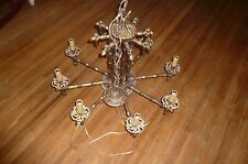 Antique REWIRED Brass Faux Bamboo Vintage Chandelier Chinese Hollywood Regency