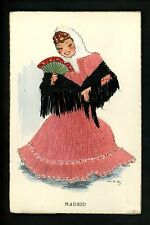 Embroidered clothing postcard Artist Elsi Gumier Spain Madrid woman fan