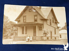 Large 2 Storey Home 3 Small Children Family Dog Garage RPPC