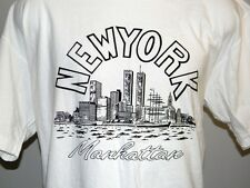 EUC MENS NEW YORK MANHATTAN T SHIRT LARGE TWIN TOWERS EMPIRE STATE BUILDING