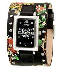 Women's Ed Hardy TT-BLK Temptress Black Love Kills 316L Leather Watch w/Box