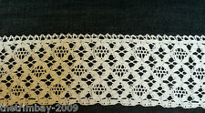 White Straight and Scalloped Edge Vintage Crochet Cotton Lace  Free UK Post