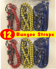 12 x Bungee Cord Elastic Luggage Straps Rope Hooks Stretch Tie Bike Car Trailer