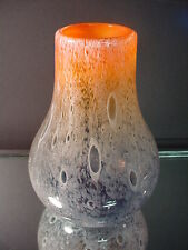Rare Schneider Art Glass Art Deco Signed Orange/Gray Cluthra Vase France 1930's