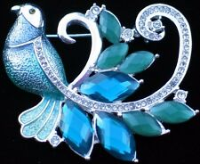 NIB NAPIER TEAL JADE GREEN RHINESTONE PHEASENT PEACOCK BIRD PIN BROOCH JEWELRY