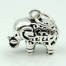 S925 Sterling Silver Vintage Tibetan 13X14mm Baby Elephant Pendant WSP128