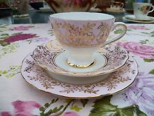 Lovely Vintage Gladstone English China Trio Tea Cup Saucer Plate Pink Gilded