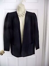 VALENTINO Sweater Open Front Cardigan M/L Made in Italy Blue Wool Cotton Auth