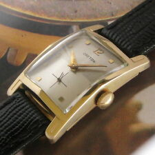 Mens 1950s Croton 14K SOLID GOLD Nivada Grenchen TuTone Dial Vintage Swiss Watch