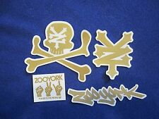 Zoo York Sticker Set of 4 Different GOLD Lot of Skateboard Decals. FREE SHIPPING