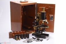 RARE*  LARGE ZEISS ANTIQUE BRASS MICROSCOPE IN CASING W/ KEY, REICHERT LENSES
