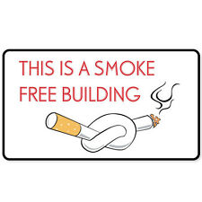 "Smoke Free Building no smoking sign sticker 6"" x 3"""