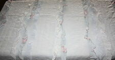 SIMPLY SHABBY CHIC TWIN QUILT Light Blue Pink Roses Ruffles Pintuck 100% Cotton