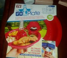 The Go Plate One Handed Party Dish As Seen On TV 10 Pack Red Plastic