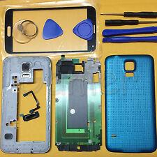 Full Housing Case + Glass For Galaxy S5 G900 G900F G900A Black White Blue Gold