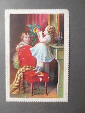 Antique Christmas Card Girl Standing on Chair Playing Trumpet CHROMO c 1870s
