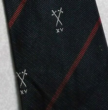 VINTAGE TIE RUGBY SPORTS CREST EMBLEM CLUB 1970s 1980s AXE XV BY AG ALMOND SILK