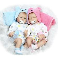 Boy-girl Twins Handmade Baby Doll Silicone Vinyl Reborn Newborn Dolls + Clothes