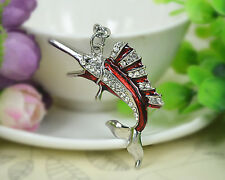 T Silver Sharp Fish Keyring Rhinestone Crystal Charm Pendant Key Bag Chain Gift