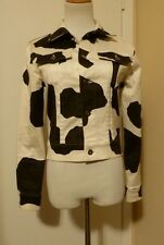 NWOT VIEW BLACK WHITE COW PRINT COTTON LYCRA STRETCH JACKET SIZE 8