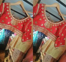 BOLLYWOOD DESIGNER SAREE RED BLOUSE WITH SAREE SIZE 40-42 INDIAN TRADITIONAL
