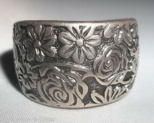 Retired Size 8 SILPADA Sterling Silver Oxidized Engraved Floral Cuff Ring R1583