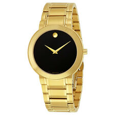Movado Stiri Black Dial Gold-tone Stainless Steel Mens Watch 0606941