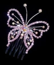 BEAUTIFUL PINK SWAROVSK ELEMENT I  CRYSTAL TIARA/COMB- BRAND NEW T63