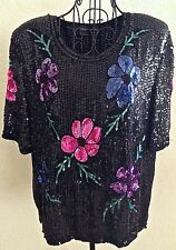 Vintage Royal Feelings Sequin Beaded Top 100% Silk Floral Lined Size L