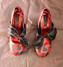 Iron Fist Red Skull Black Bow Gothic Victorian Lolita Shoes Pumps US 6