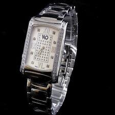 MEN'S NEW WHITE GOLD FINISH GENUINE LAB DIAMOND WRIST DRESS WATCH SOLID METAL