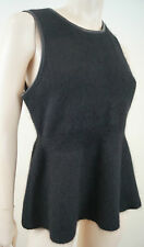 J BRAND Black Angora Rabbit Fur Leather Trim Knitted Grace Peplum Top Sz:L BNWT