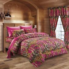 The Woods King Hot Pink Camo 7 Piece Bedding Set Comforter and Sheets