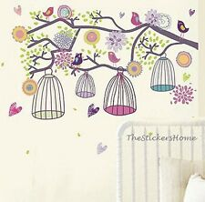 Colourful Flower Bird Cages Wall Stickers Art Decal Vinyl Transparent Reusable