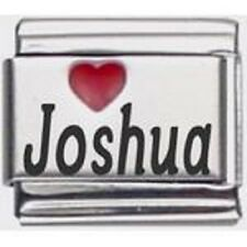 9mm Red Heart Joshua Laser Name Italian Charm  (RHN2721)