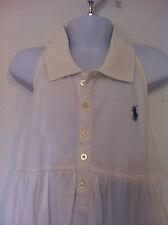 Ralph Lauren Girls Polo Style Halter White Half Back Sherring Size XL (16) NWT