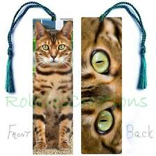 BENGAL Large BOOKMARK TASSEL Asian Leopard CAT EYES ART Book CARD Brown Spotted