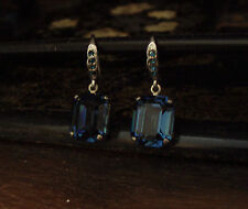 Vintage Deco Montana Blue Emerald Cut Crystal Drop Earrings. Very Downton Abbey