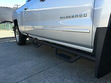 07-16 Chevy Silverado Crew Cab HOOP STYLE Dropped Steps Texture Black Nerf Bars