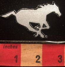 Horse Race Patch ~ White Horse In Racing Pose ~ Equestrian 66WN