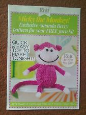 Toys Knitting Crochet Pattern Micky The Monkey Pull Out Leaflet FREE POSTAGE