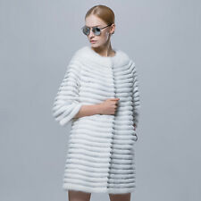 White Mink Fur coat with Genuine Leather