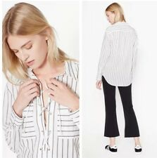 £230 Equipment Knox Striped Cotton Long Sleeve Shirt Lace Up XS S Small New