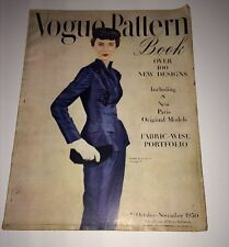 Vintage Vogue Pattern Book October November 1950 Paris Suits Ball Gowns More
