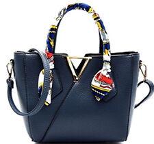 NEW Faux Leather Scarf Wrap Handle V-Shape Diophy Medium Satchel Bag Adjust Blue