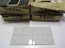 (8)NOS Mid Century Mod Vtg Grey Porcelain Ceramic on Metal(Steel)Wall Tile 4.5in