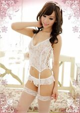 Brand New White Color Lace Sheer Corset Cosplay Costume Mini Dress Lingerie Set