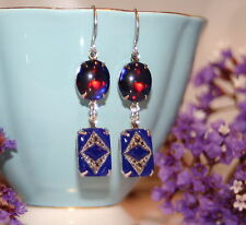 Vintage 1920s Deco Czech glass blue dragons breath ruby silver artisan earrings
