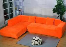 Colorful Plush Stretch Fitted Sofa Cover For Corner / L-Shaped 2+2 3 Seater Sofa