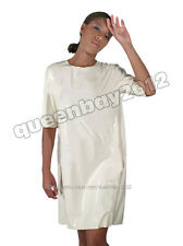 New!! 100% Latex Rubber Gummi 0.8mm Patient Gown Nurse Apron Suit Catsuit White